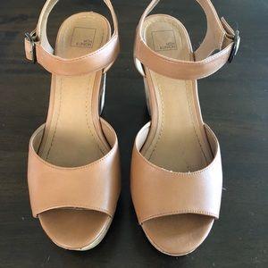 14th and Union a- Cork wedge/heel tan sandal